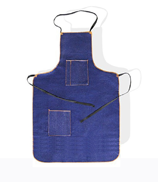 "Blue Denim Apron , 45"" long, below knee"