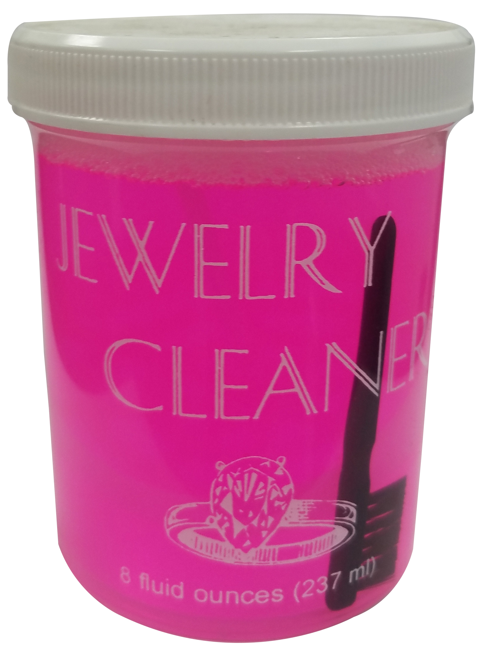 JEWELRY CLEANER/PINK, 8 ounces with basket & brush